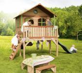 Spielhütte Spielhaus mit Veranda Rutsche Leiter Holzspielhaus Garten TÜV geprüft