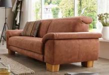 Couch Sofa 2, 5 Sitzer Large Textilsofa Stoff braun Holzfüße Kaltschaumpolsterung