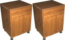 Rollcontainer 2er Set Container Kommode Nachtkommode Kiefer massiv honigfarben