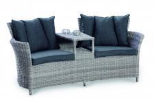 Loungemöbel Lounge Zweiersofa 2er Sessel mit Zwischenablage Geflecht Rattanoptik