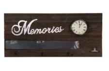 Wandpaneel Memories Altholzlook Uhr massiv Tafel Haken Woody Notizklemme Ablage
