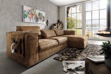 System Leder Eckgarnitur Eckcouch Couch walnuss Naht mit Longchair