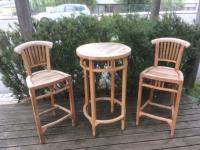 Gartenbar Unikat teak natur Bargruppe Bar 3 tlg. Gartenbar Barset Tisch Stühle