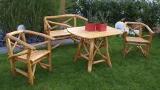 Gartenmöbel-Set Gartengruppe Gartenmöbel Knüppelholzgarnitur Garten-Set 4teilig