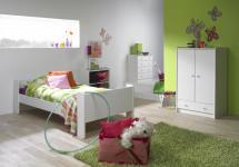 Jugendzimmer Kinderzimmer MDF weiß lackiert Bett Schrank Kommode komplett