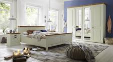 Schlafzimmer komplett Kleiderschrank Bett 4-tlg. Landhausstil Kiefer massiv