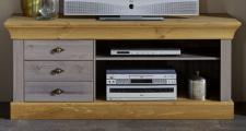 TV-Kommode Lowboard Fernsehkommode TV-Tisch Kiefer massiv grau laugenfarbig