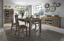 Esszimmer komplette Einrichtung Speisezimmer Kiefer massiv grau gebeizt Landhaus