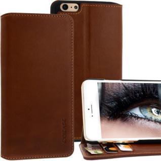 Exxcase Ledertasche für Apple iPhone 6 PLUS Braun Handytasche Smartphonetasche