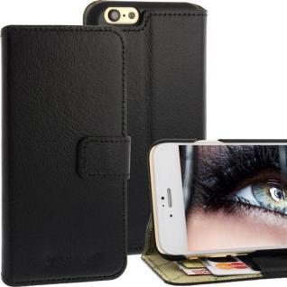 Bookstyle Ledertasche für Apple iPhone 6 Schwarz Kartenfächer Magnetschnalle NEU
