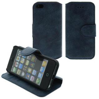 Für Apple iPhone SE 5 Table Talk Case/Cover/Bumper/Hülle/Schale/Antic Blau LEDER