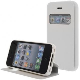 Kunstleder Handytasche für Apple iPhone 4S / 4G Weiß mit Fenster, Displayklappe, D