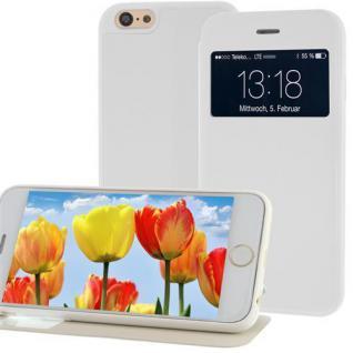 Handytasche für Apple iPhone 6 mit Fenster + Displayklappe Weiß, Slim Etui Cover