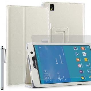 """Faltbare Tablet Tasche für Samsung Galaxy NOTE PRO T320 Weiß 7"""" inkl Stift+Folie"""