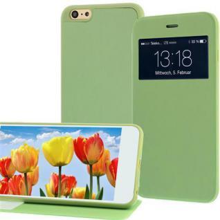 Handytasche für Apple iPhone 6 PLUS Grün mit Fenster + Standfunktion Case Cover