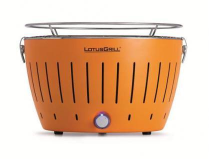 LotusGrill (Mandarinenorange) der rauchfreie Holzkohlegrill/Tischgrill in verschiedenen fröhlichen Farben. Neueste Technik mit Turboboostsystem (garantiert immer die neueste Technik)