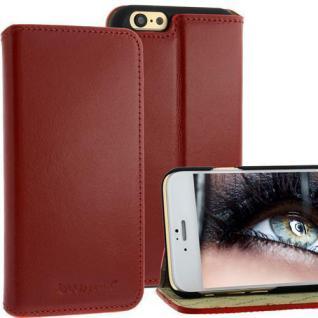 Bookstyle Ledertasche für Apple iPhone 6 Rot + Standfunktion LEDER CASE ETUI NEU