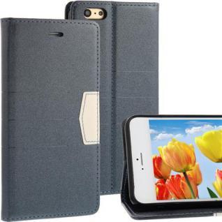 """Bookstyle Wallet Case für Apple iPhone 6 PLUS (5, 5"""") Anthrazit Grau Handytasche"""