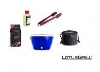 LotusGrill Starter-Set Ultramarinblau je 1x Kohle 1kg, Brennpaste 200ml, Zange