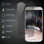 Premium Schutzglas 0, 3mm für Samsung Galaxy S4 Echtes Glas, bis 99% transparent