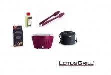 LotusGrill Starter-Set Pflaumenlila je 1x Kohle 1kg, Brennpaste 200ml, Zange NEU
