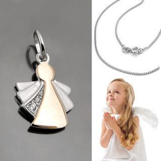 süßer Schutz Engel Anhänger mit Zirkonia Flügel Rosè Gold mit Kette Silber 925