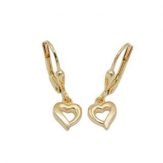 Mädchen Herz Ohrhänger Kinder Herzchen Ohrringe aus Echt Gold 333 (8 KT) Neu