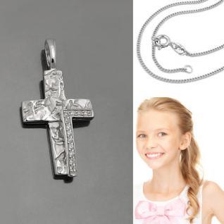 Frauen Kinder Kommunion Stein Kreuz Silber 925 Anhänger mit Vario Kette 42-40 cm