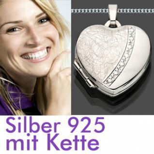 Herz Medaillon Amulett Anhänger Kette Silber 925