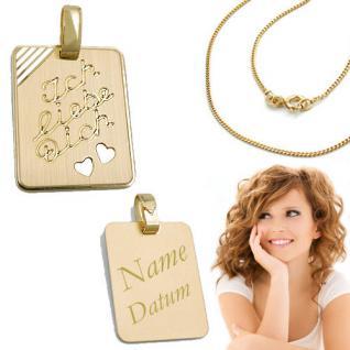 1 Ich liebe Dich Anhänger Gold 333 mit Namen Datum Gravur mit Kette Silber verg