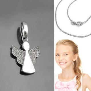 Kinder Schutz Engel mit Zirkonia Steinen im Flügel und Kette Echt Silber 925 Neu
