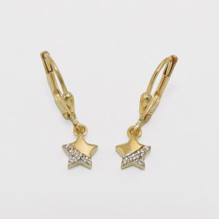 Mädchen Gold 333 Stern Ohrringe Kinder süße Sternchen Ohrhänger Zirkonia Hänger