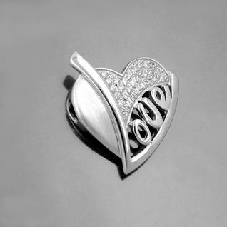 Herz Anhänger Amulett Schriftzug Love Frauen Zirkonia mit Kette Echt Silber 925