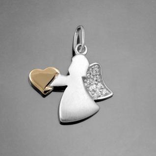 Taufe Kinder moderner Rosègold Herz Schutz Engel mit Zirkonia Echt Silber 925