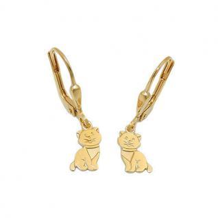 Mädchen süße Katze Katzen Ohrhänger Kinder Kätzchen Ohrringe Echt Gold 333 Neu