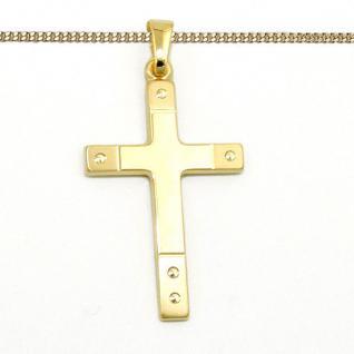 Echt Gold 333 edler Kinder Kreuz Anhänger Baby Taufe Kommunion mit Silber Kette