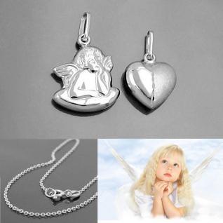 Baby Taufe Schmuck Set Schutzengel und Herz Anhänger mit 38 cm Kette Silber 925
