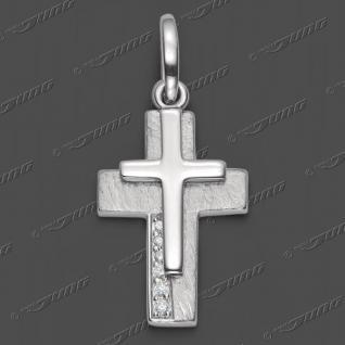 Kreuz auf Kreuz Zirkonia Doppel Anhänger Echt Silber 925 mit Hals Kette wählbar