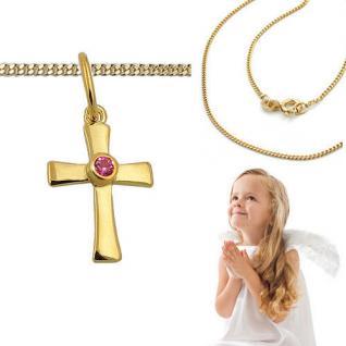 Mädchen Kette zur Taufe Kommunion Zirkonia rot Kreuz Anhänger Silber 925 vergold
