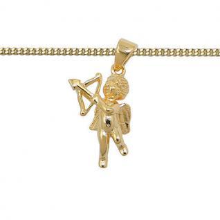 Schutz Engel Amor mit Pfeil u Bogen Anhänger mit Kette Echt Silber 925 vergoldet
