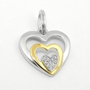 Frauen Anhänger drei Herzen in einem Herz mit Kette Echt Silber 925 bicolor