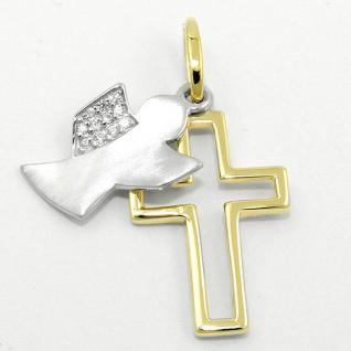 Mädchen Frauen Schutz Engel mit Kreuz Anhänger mit Kette Echt Silber 925 bicolor