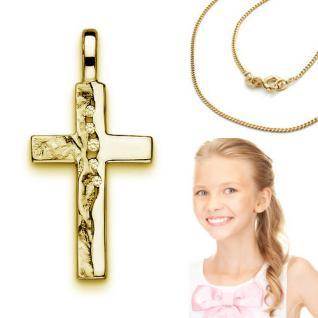 Kinder Kreuz Anhänger Zirkonia zur Kommunion mit Kette Echt Silber 925 vergoldet