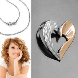 Frauen Mädchen Engelsflügel Herz Engel Flügel Rosè Gold & Kette Echt Silber 925