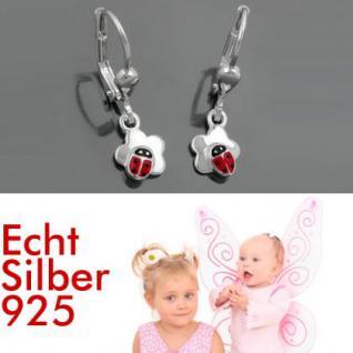 Marienkäfer Blumen Ohrringe Silber - Vorschau 1