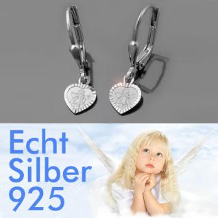 Mädchen Schutzengel Herz Ohrringe Kinder Engel Ohrhänger Hänger Echt Silber 925