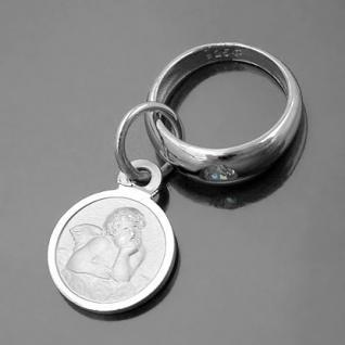 Taufring mit Sternzeichen Fische und Schutzengel Echt Silber 925 mit Kette - Vorschau 3