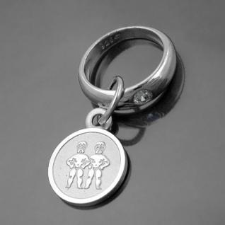 Taufring mit Sternzeichen Zwillinge und Schutzengel Echt Silber 925 mit Kette