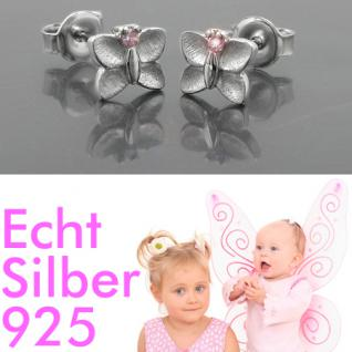 Mädchen Schmetterling Ohrstecker rosa Kinder Ohrringe aus Echt Silber 925 Neu - Vorschau 1