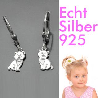 Mädchen Katzen Ohrringe Kinder Ohrhänger Katze Hänger aus Echt Silber 925 rhod.